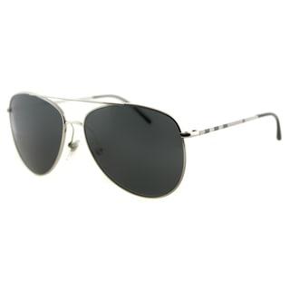 Burberry BE 3072 100587 Silver Metal Aviator Sunglasses Grey Lens