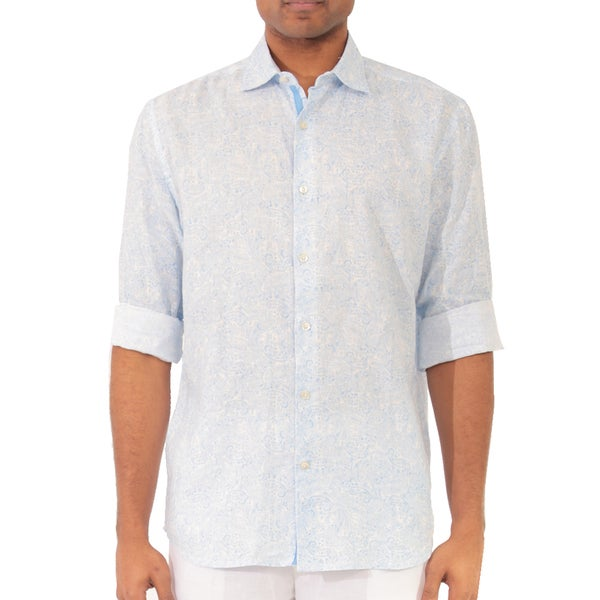 Men's Long Sleeve Paisley Print Linen Shirt