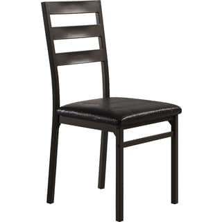 Contemporary Brown Metal and Upholstered Dining Chair