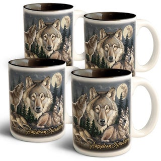 American Expedition Collage Coffee Mugs, 4 Set