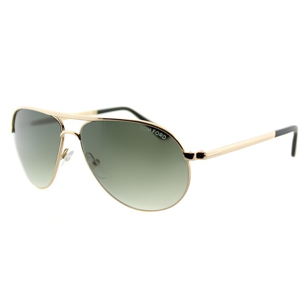 Tom Ford TF 144 28P Marko Shiny Rose Gold Metal Aviator Sunglasses Green Gradient Lens