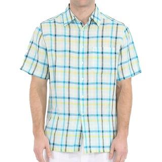 Men's Short Sleeve Plaid Linen Shirt