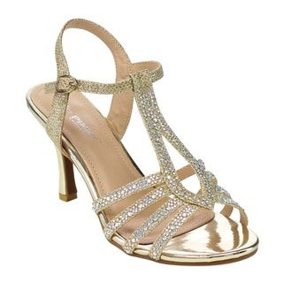 VIA PINKY Women's CLAUDIA-93 Rhinestone Cut Out Heels