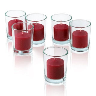 Clear Glass Round Votive Candle Holders With Red Votive Candles Burn 10 Hours Set Of 12