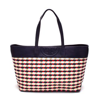 Tory Burch Soft Straw Navy/Red East/West Tote Bag