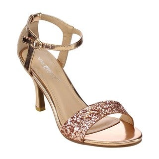 VIA PINKY CLAUDIA-96 Women's Glittery Cover Mid Heel Dress Heels