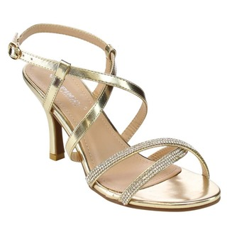VIA PINKY CLAUDIA-95 Women's Criss Cross Rhinestone Dress Heels