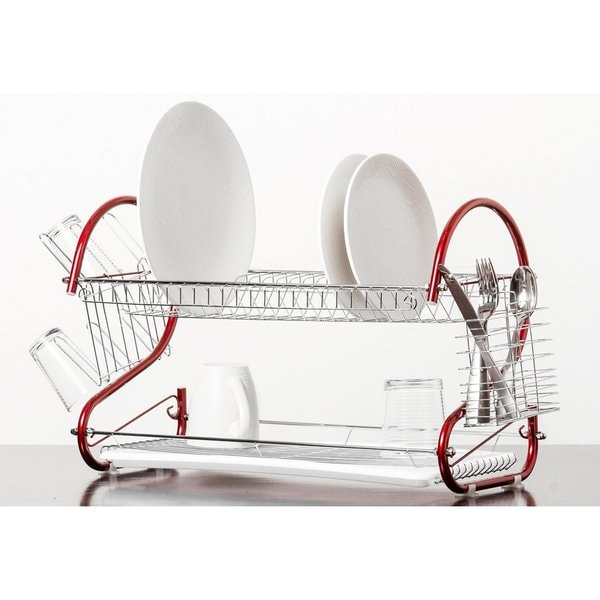 Red Stainless Steel 2 Tier Dish Drying Rack