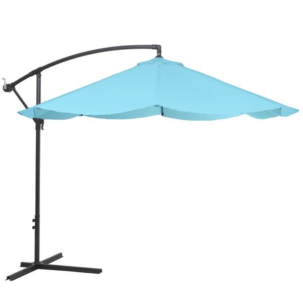 Pure Garden Offset 10' Aluminum Hanging Patio Umbrella - Blue