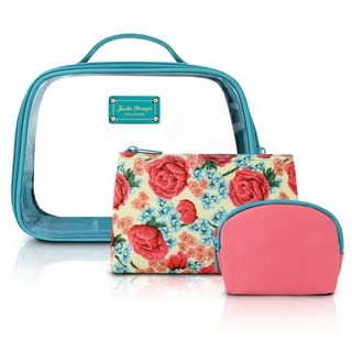 Jacki Design Miss Cherie 3-piece Floral Cosmetic Toiletry Bag Set with Rounded Large Bag