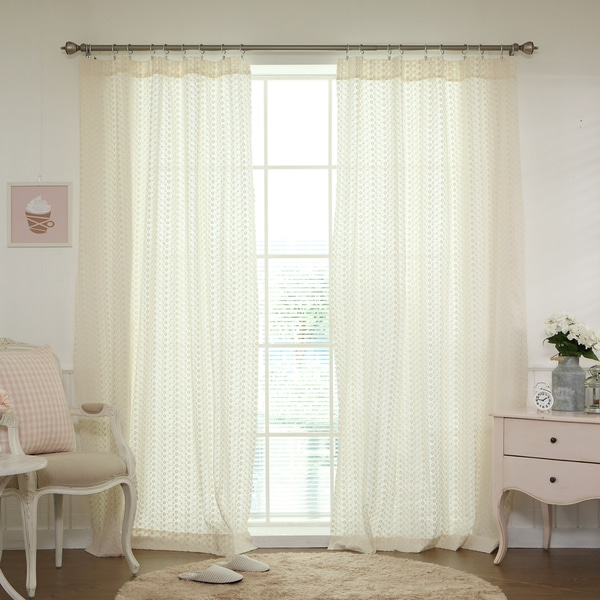Aurora Home Mini-Flower Embroidered Cotton Eyelet Curtain (Pair)