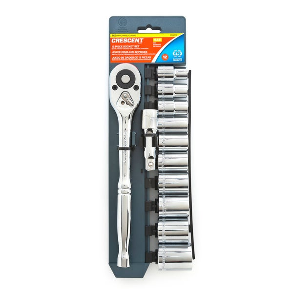 "Crescent CSWS12 1/2"" Drive 12 Point SAE Socket Wrench Tool 12-Piece Set"