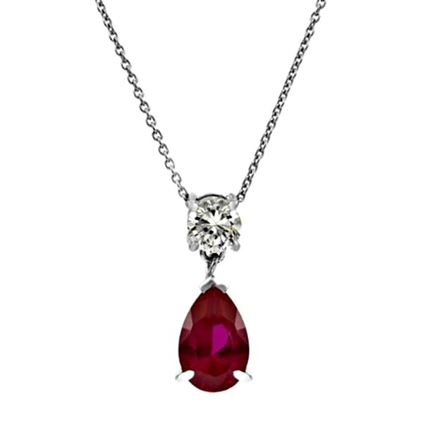 Sterling Silver Pear Drop Red CZ Necklace