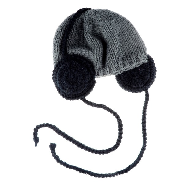 Crummy Bunny Small Grey Beanie with Headphones