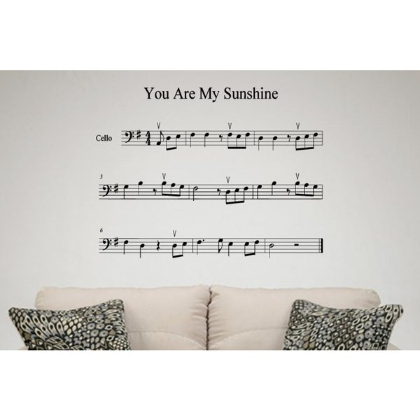 Sheet music for songs You Are My Sunshine Wall Art Sticker Decal