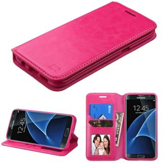 Insten Hot Pink Leather Case Cover with Stand/Wallet Flap Pouch/Photo Display For Samsung Galaxy S7 Edge