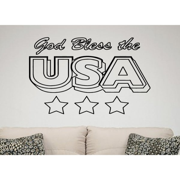 USA God Bless Me Wall Art Sticker Decal