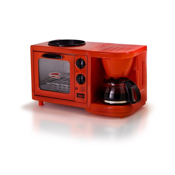 Elite Cuisine EBK-200R 3-in-1 Multifunction Breakfast Center, Red