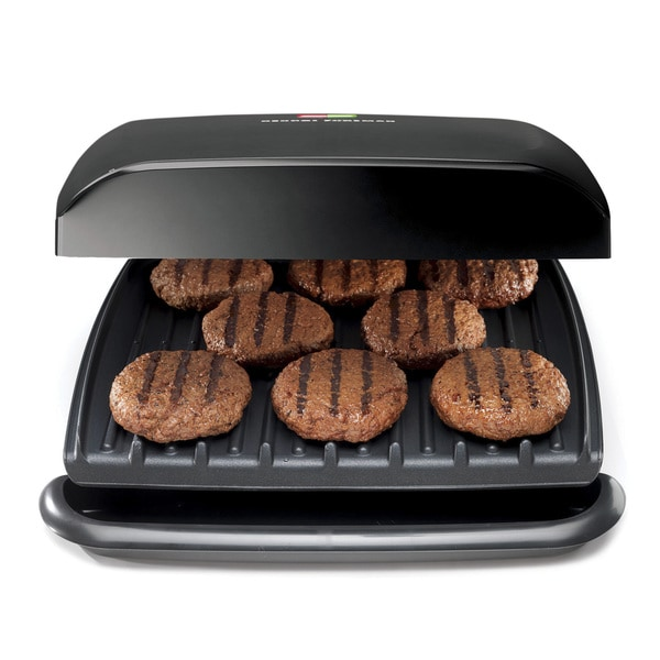 George Foreman GR2120B 8-serving Classic Plate Grill, Black