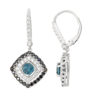 Gioelli Diamond Accent Sterling Silver London Blue Topaz, Black Spinel and White Sapphire Leverback Earrings
