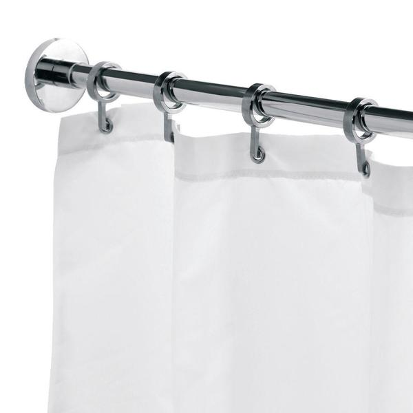 Croydex Round 98.4-inch Luxury Shower Curtain Rod with Curtain Hooks in Chrome