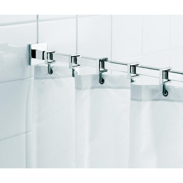 Croydex Square 98.4-inch Luxury Shower Curtain Rod with Curtain Hooks in Chrome