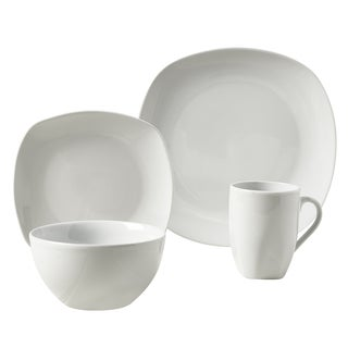 Logan 16pc Soft Square Porcelain Dinnerware Set