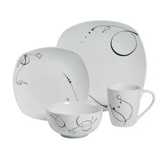 Pescara 16pc Soft Square Porcelain Dinnerware Set
