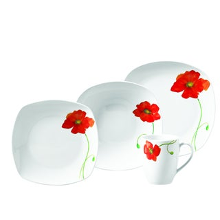 Poppy 16pc Soft Square Porcelain Dinnerware Set