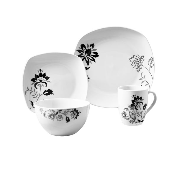 Rebecca 16pc Soft Square Porcelain Dinnerware Set