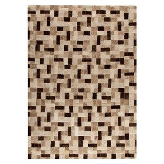 Hand-tufted Puzzle Beige Rug (5'2 x7'6 )