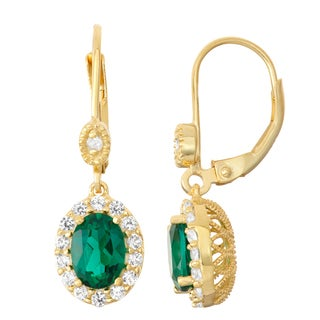 Gioelli Diamond Accent Goldplated Silver Emerald and White Sapphire Leverback Earrings