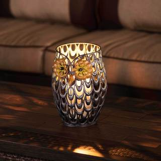 Sunjoy Owl Metal Hurricane Lantern With Antique Bronze Finish, 9 Inches