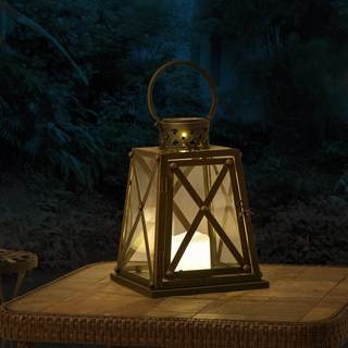 Sunjoy Small Metal LED Solar Lantern With Antique Bronze Finish, 10 Inches