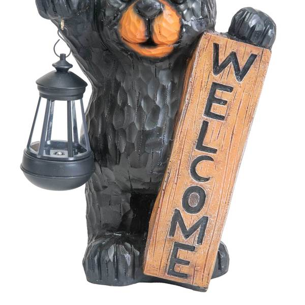 Sunjoy Welcome Bear Statue with Solar LED Lantern, Hand Painted Resin