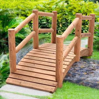 Sunjoy Church Wood Bridge Made of Chinese Fir with Natural Finish, 62 Inches by 26 Inches by 28 Inch