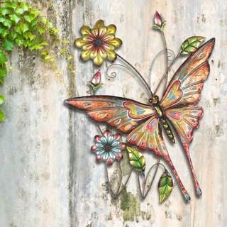 Sunjoy Butterfly & Flowers 30.75-inch Hand-Painted Iron Outdoor Wall Decor
