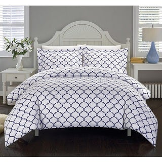 Chic Home Finlay Navy 3-Piece Duvet Cover Set
