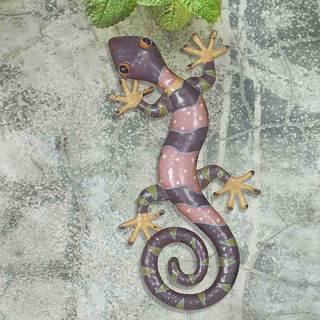 Sunjoy Gecko 23-inch Hand-Painted Iron and Acrylic Outdoor Wall Decor, Pink and Purple