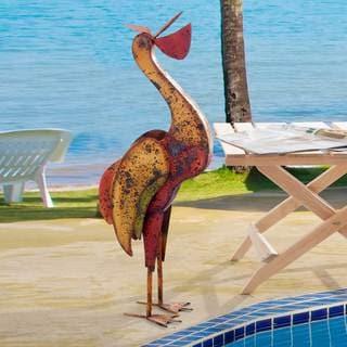 Sunjoy Metal Handpainted Pelican, 38-inch
