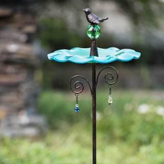 Sunjoy Glass Blue Bird Feeder Garden Stake