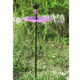 Sunjoy Glass Pink Bird Feeder Garden Stake