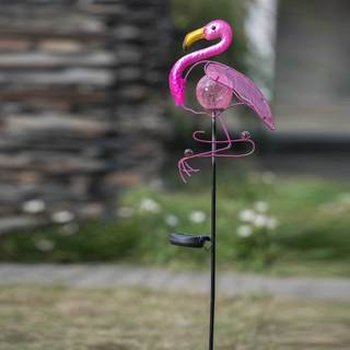 Sunjoy Flamingo LED Solar Metal Garden Stake, 47.6 Inches