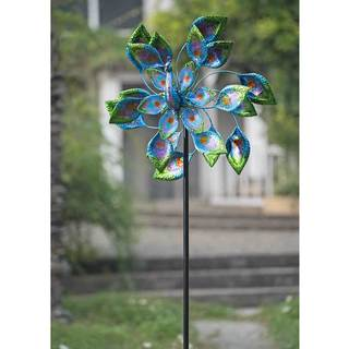 Sunjoy Peacock Kinetic Spinner Metal and Blue Glass Wind Catcher, 84.4 Inches