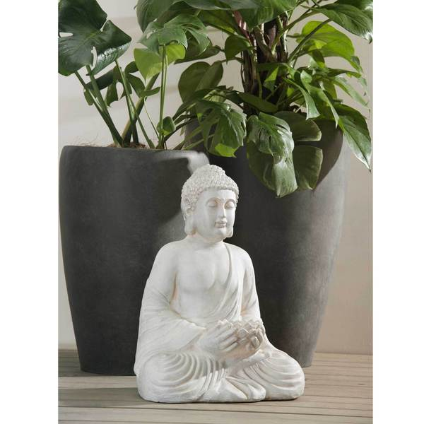 Sunjoy Sitting Buda, Cast Resin Stone Finish, 20-inch 17967963