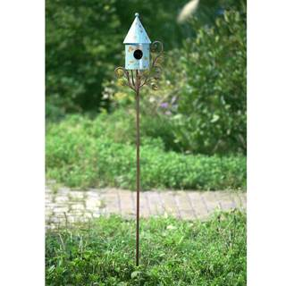 Sunjoy Round Birdhouse Garden Stake Made of Hand Painted Iron, 61 Inches