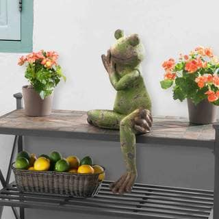 Sunjoy Large Sitting Frog Garden Statue, Resin with Rustic Green Finish, 25-inch