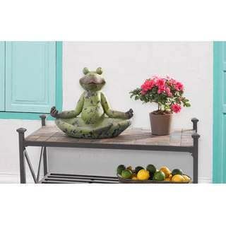 Sunjoy Large Frog Garden Statue-inch Lotus Position, Resin with Rustic Green Finish, 15-inch