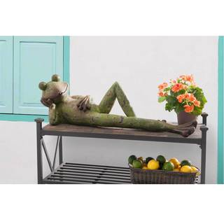 Sunjoy Laid Back Frog Garden Statue, Resin with Rustic Green Finish, 39-inch