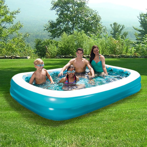 3D Inflatable Rectangular Family Pool - 103-in x 69-in